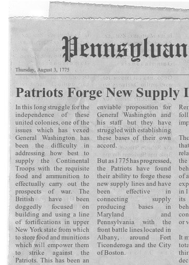 Supply Lines of the American Revolution Newspaper Headline 1