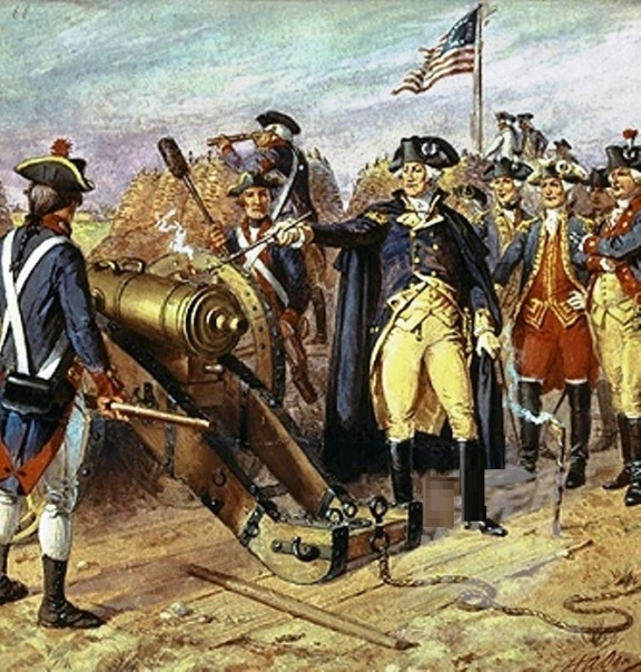 Battle of Yorktown Washington firing canon