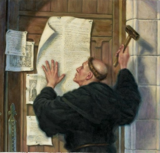 Luther Nailing the 95 Theses to the Door