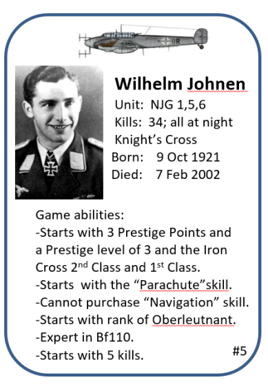 Nighfighter Ace Example Ace Card Wilhelm Johnen