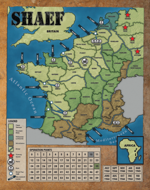 SHAEF Map with Objective Stars