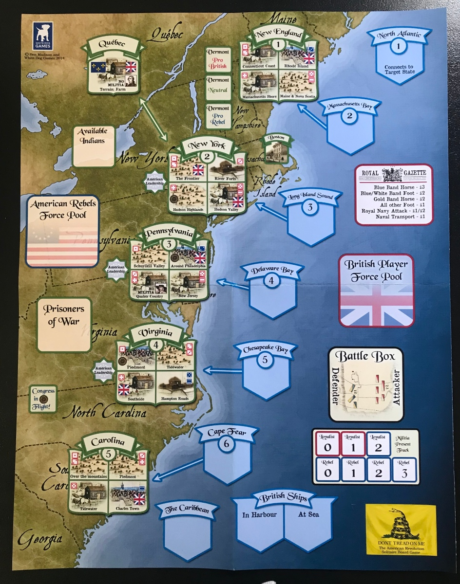 Don't Tread on Me: The American Revolution Solitaire Board Game from White Dog Games – Action Point 1