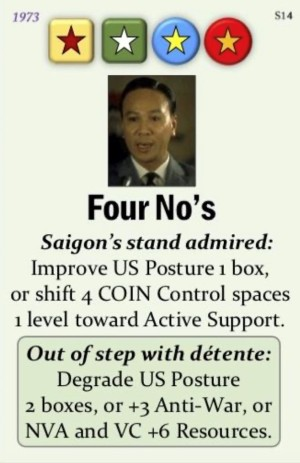 Fall of Saigon S14 Four No's Event Card