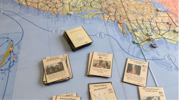 War for America Shot of Map with Cards